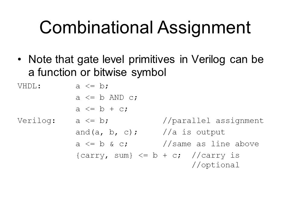 Combinational Assignment