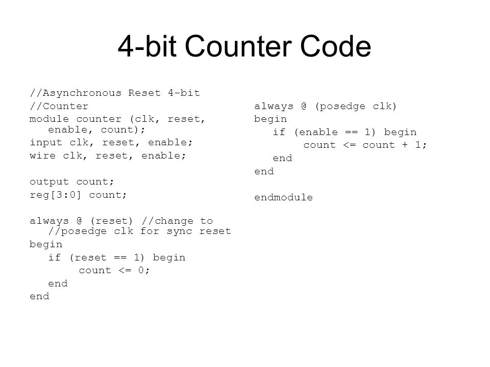 4-bit Counter Code //Asynchronous Reset 4-bit //Counter