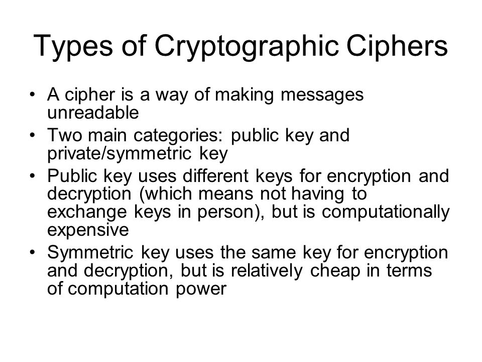 Types of Cryptographic Ciphers