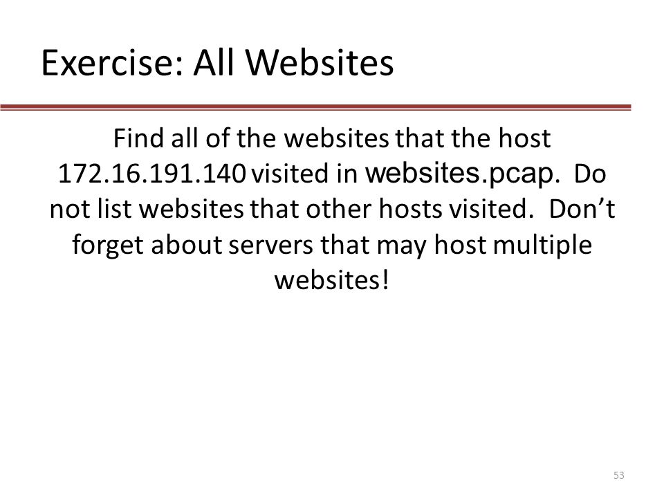 Exercise: All Websites