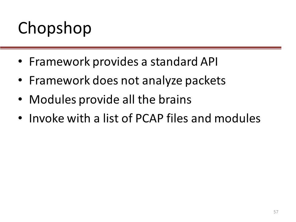 Chopshop Framework provides a standard API
