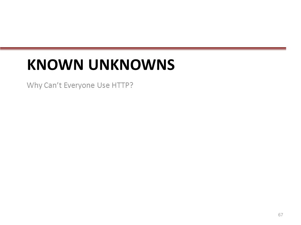 Known Unknowns Why Can't Everyone Use HTTP