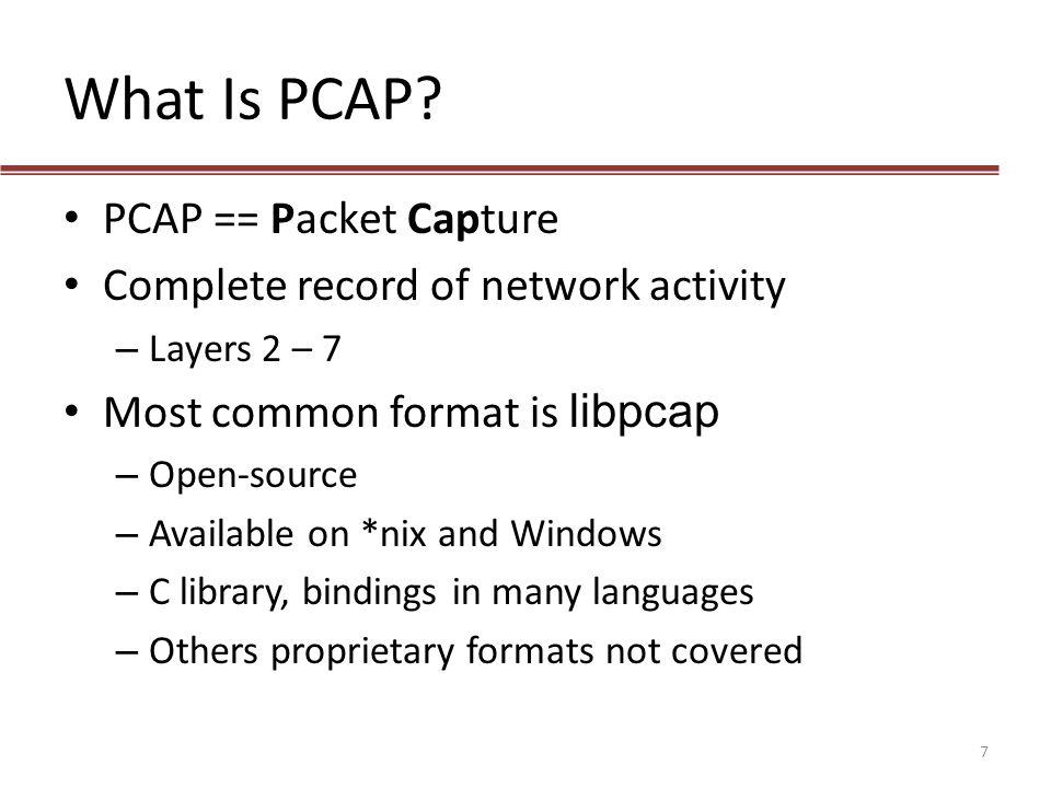 What Is PCAP PCAP == Packet Capture