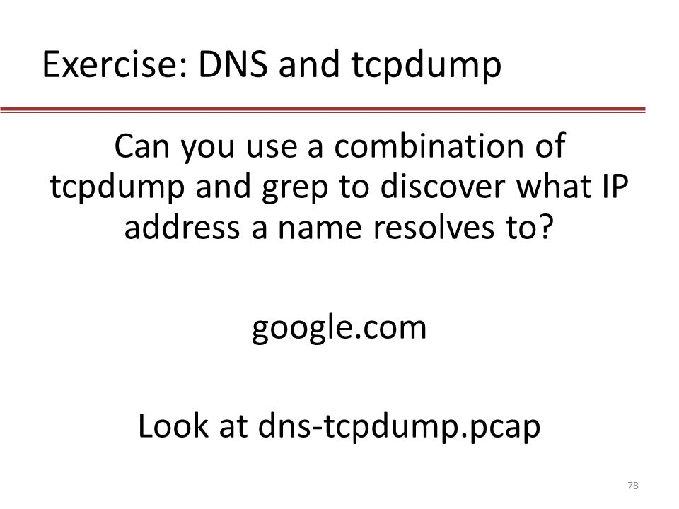Exercise: DNS and tcpdump