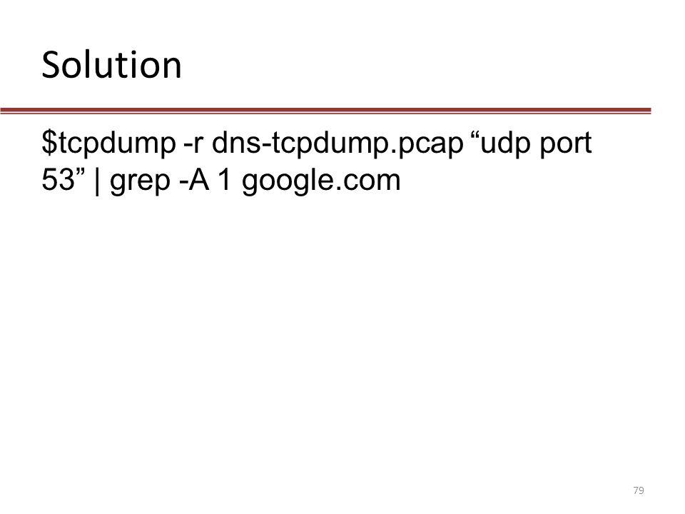 Solution $tcpdump -r dns-tcpdump.pcap udp port 53 | grep -A 1 google.com.