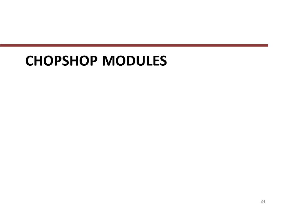 Chopshop modules