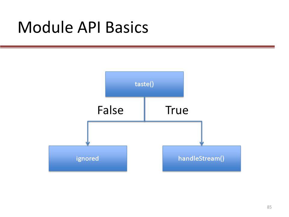Module API Basics taste() False True ignored handleStream()