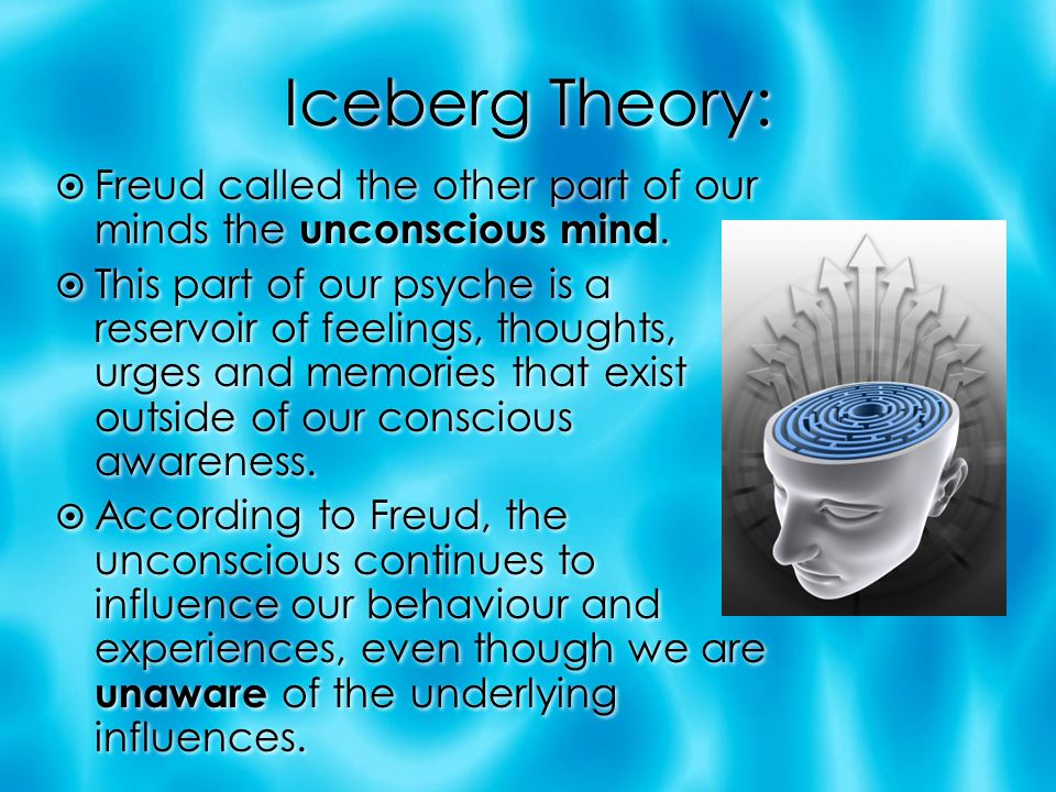 Iceberg Theory: Freud called the other part of our minds the unconscious mind.