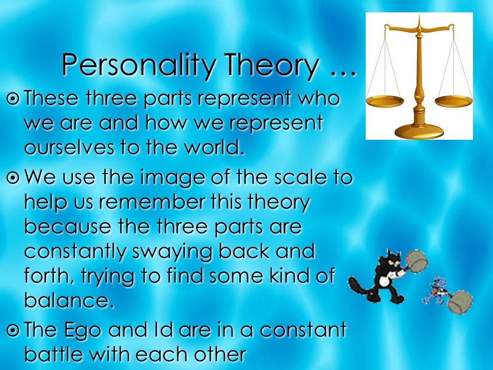 Personality Theory … These three parts represent who we are and how we represent ourselves to the world.
