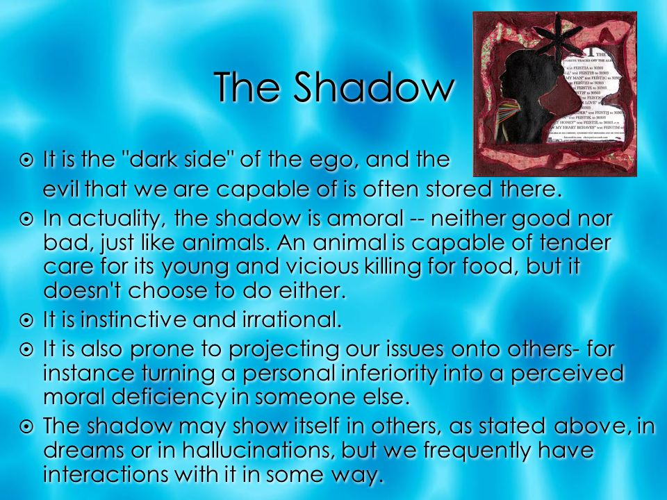 The Shadow It is the dark side of the ego, and the
