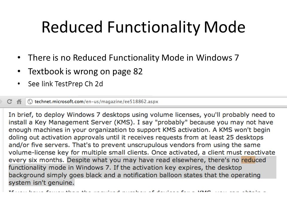 Reduced Functionality Mode