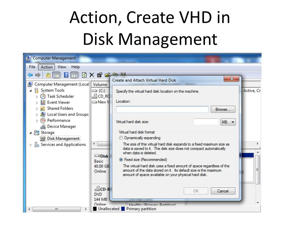 Action, Create VHD in Disk Management