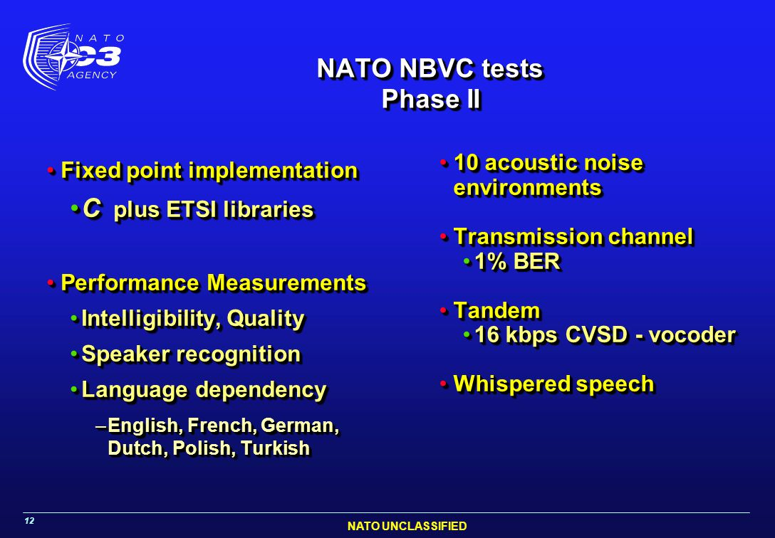 NATO NBVC tests Phase II