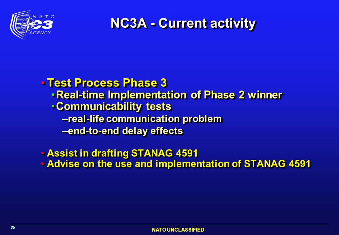 NC3A - Current activity Test Process Phase 3