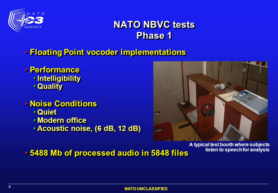 NATO NBVC tests Phase 1 Floating Point vocoder implementations