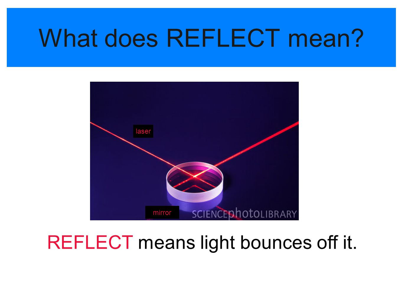 REFLECT means light bounces off it.