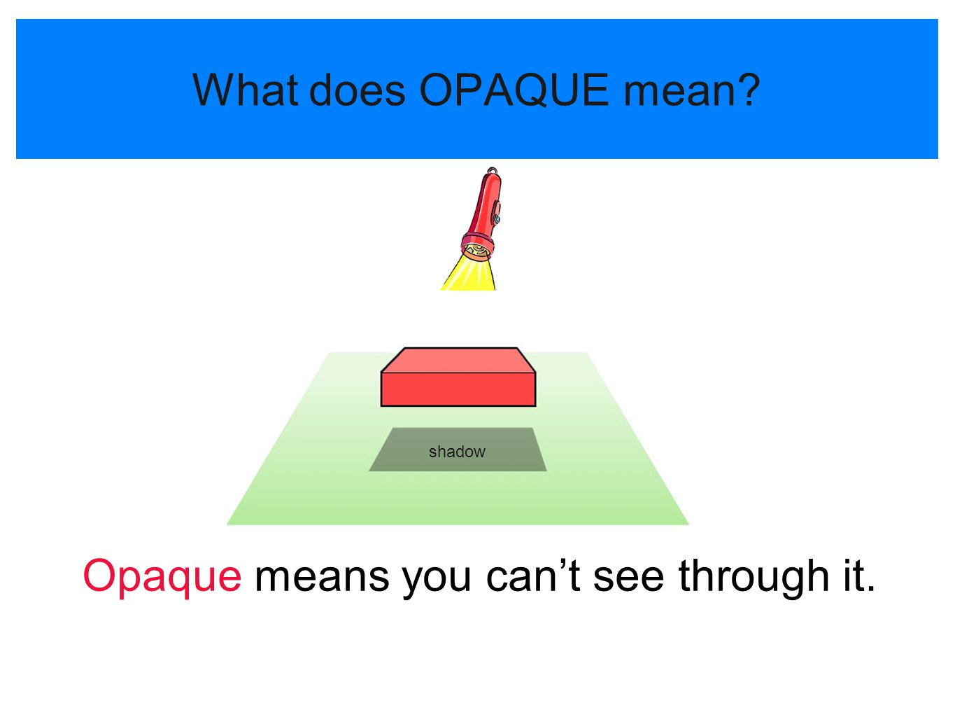 Opaque means you can't see through it.