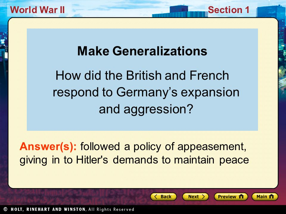 Make Generalizations How did the British and French respond to Germany's expansion and aggression