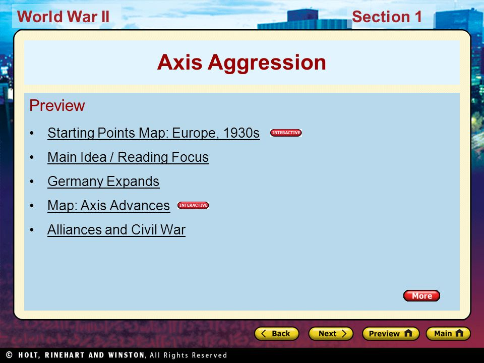 Axis Aggression Preview Starting Points Map: Europe, 1930s