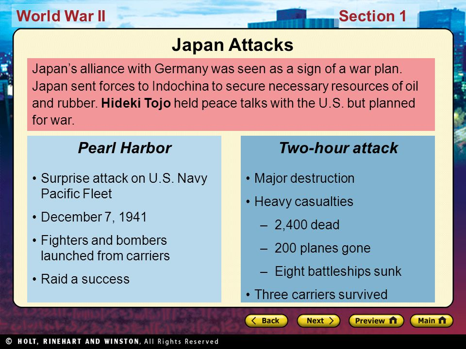 Japan Attacks Pearl Harbor Two-hour attack