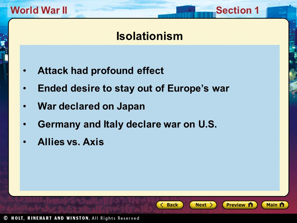 Isolationism Attack had profound effect