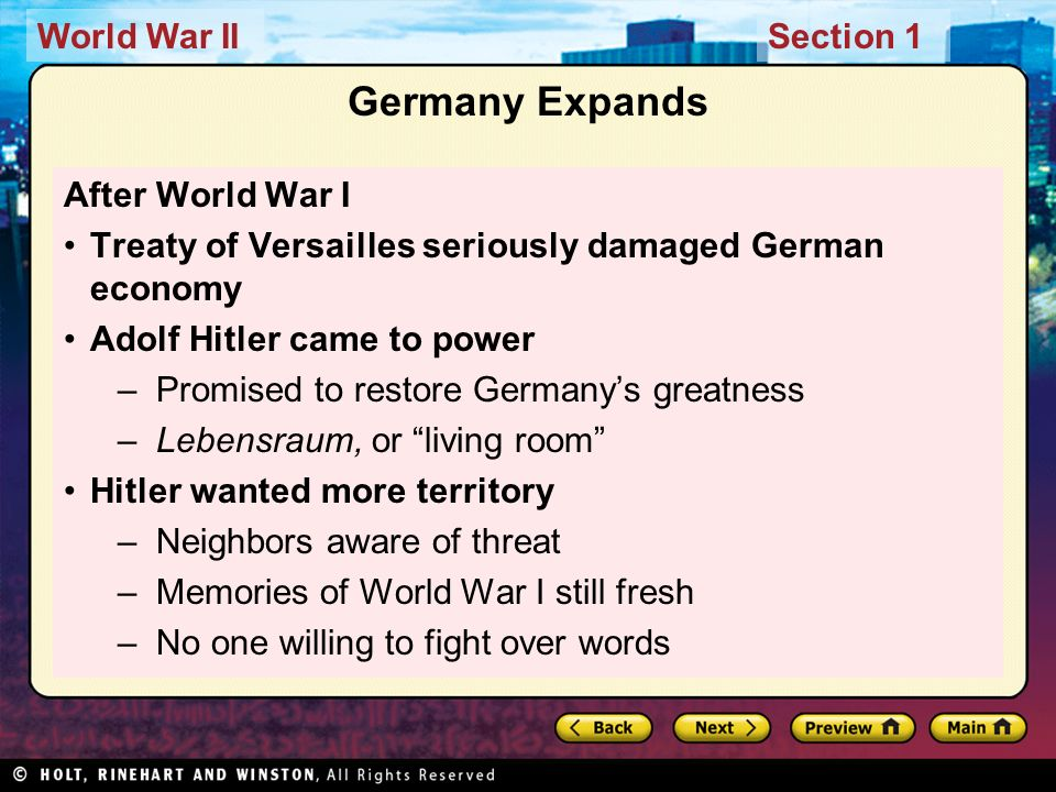 Germany Expands After World War I