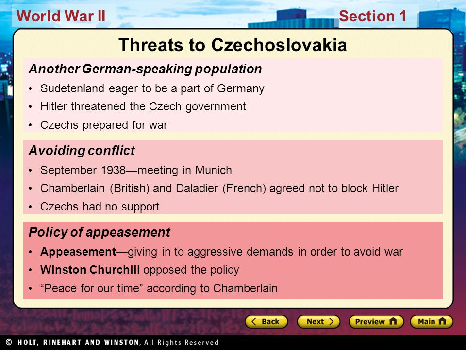 Threats to Czechoslovakia