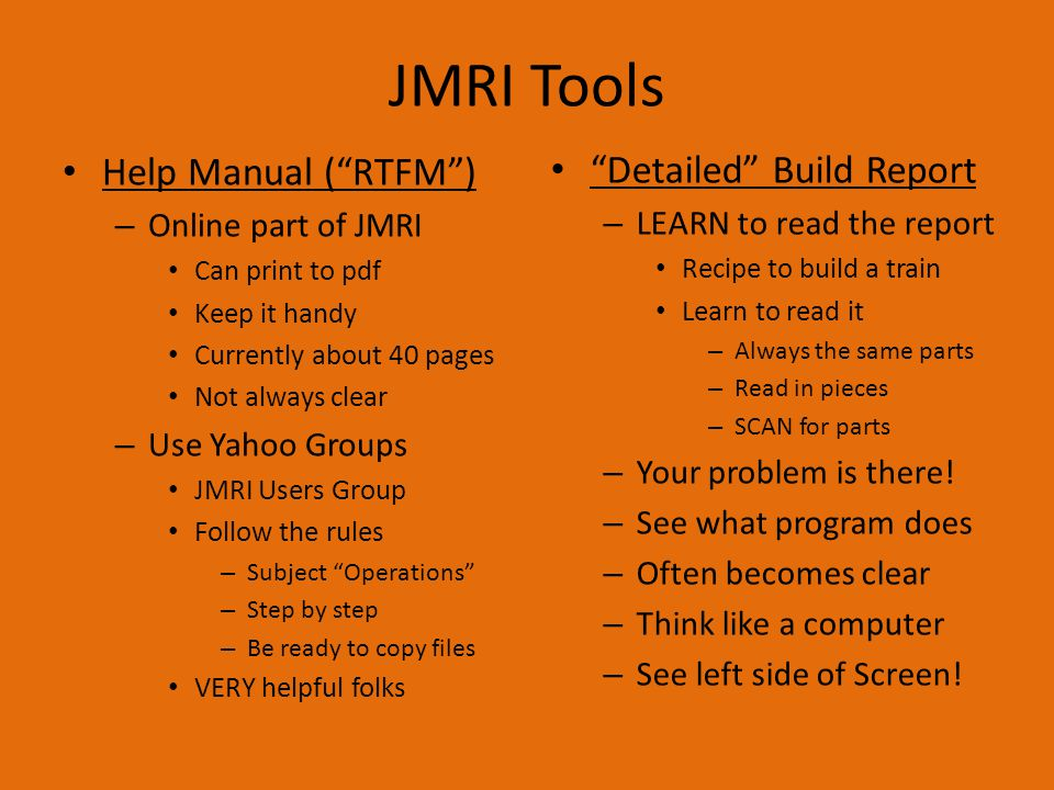 JMRI Tools Help Manual ( RTFM ) Detailed Build Report