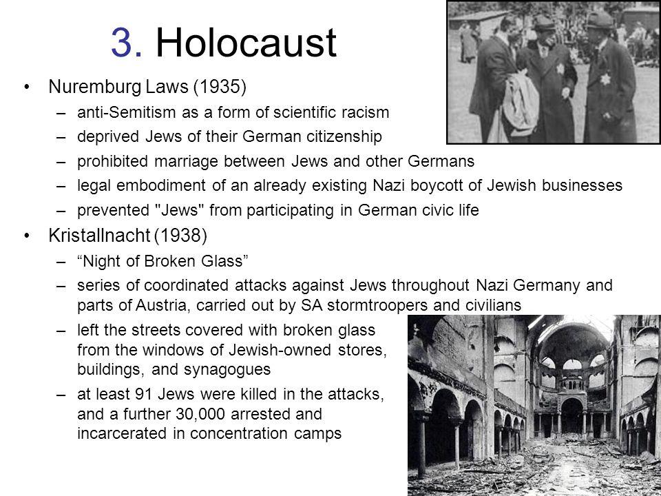 3. Holocaust Nuremburg Laws (1935) Kristallnacht (1938)