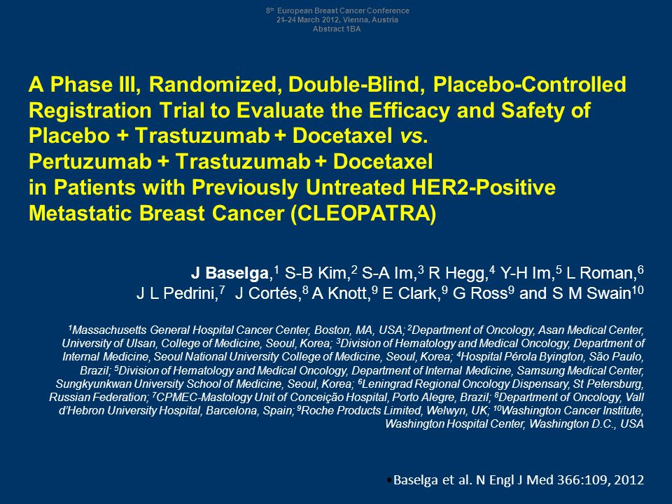 A Phase III, Randomized, Double-Blind, Placebo-Controlled Registration Trial to Evaluate the Efficacy and Safety of Placebo + Trastuzumab + Docetaxel vs. Pertuzumab + Trastuzumab + Docetaxel in Patients with Previously Untreated HER2-Positive Metastatic Breast Cancer (CLEOPATRA)