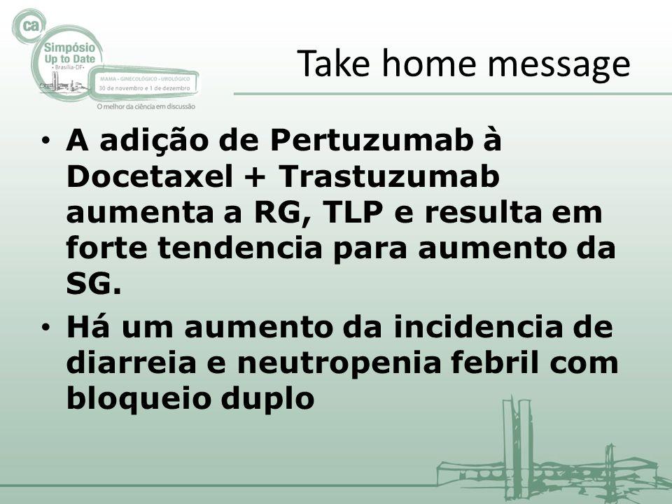 Take home message A adição de Pertuzumab à Docetaxel + Trastuzumab aumenta a RG, TLP e resulta em forte tendencia para aumento da SG.