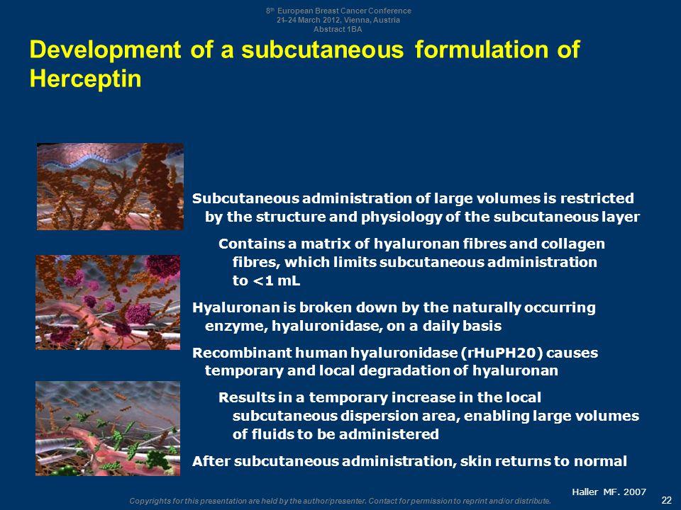 Development of a subcutaneous formulation of Herceptin