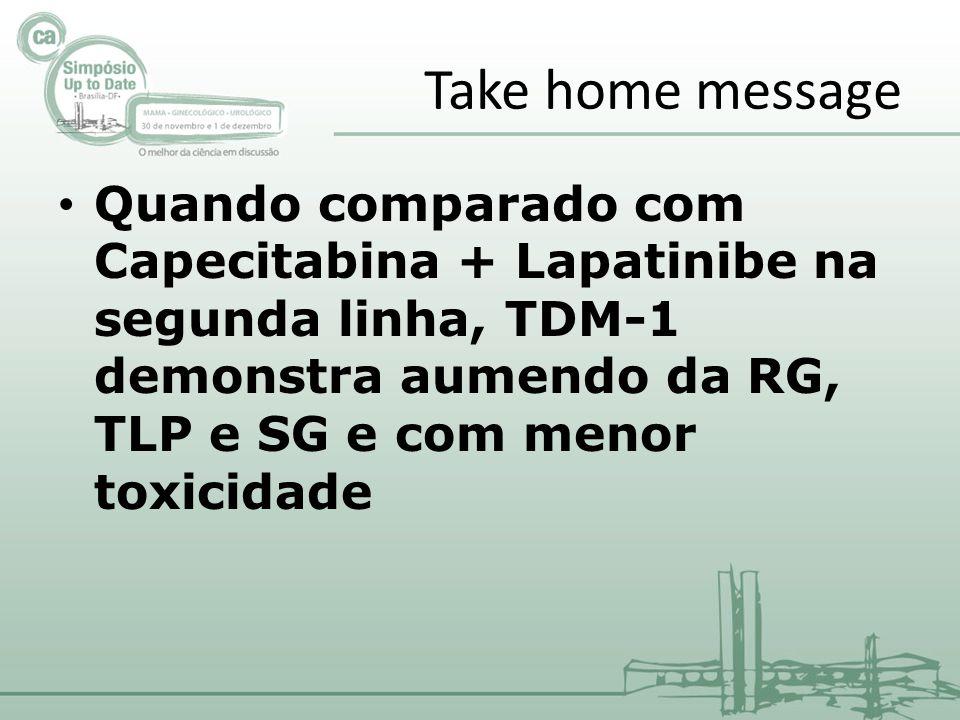 Take home message Quando comparado com Capecitabina + Lapatinibe na segunda linha, TDM-1 demonstra aumendo da RG, TLP e SG e com menor toxicidade.