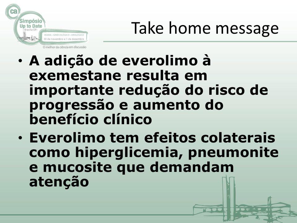 Take home message A adição de everolimo à exemestane resulta em importante redução do risco de progressão e aumento do benefício clínico.