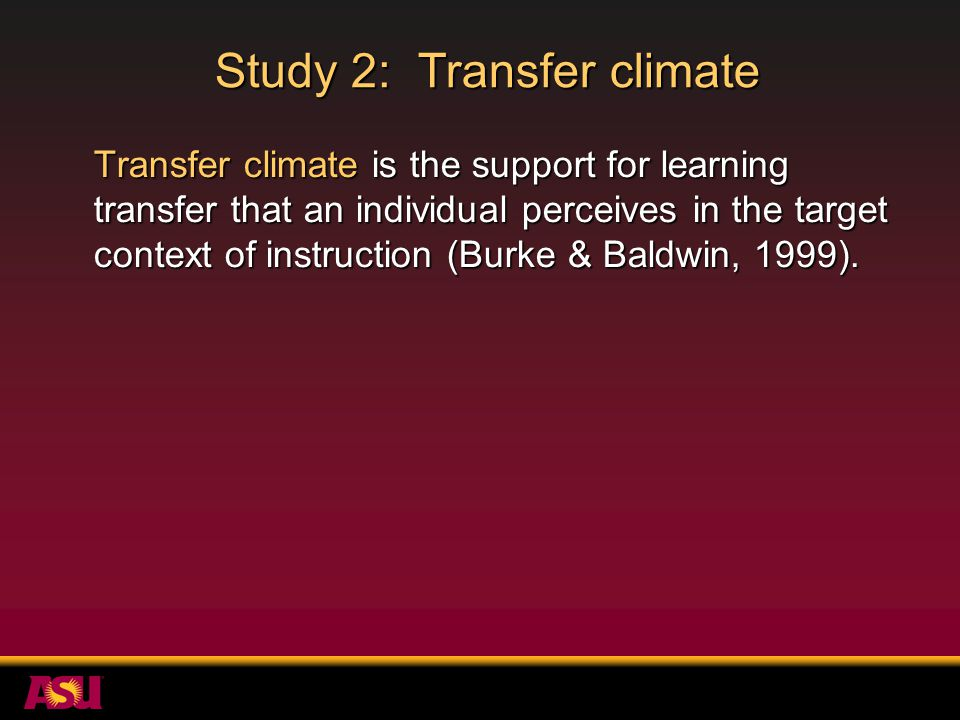 Study 2: Transfer climate