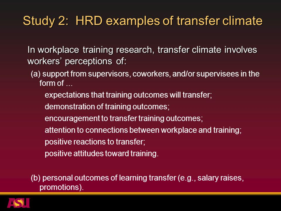 Study 2: HRD examples of transfer climate