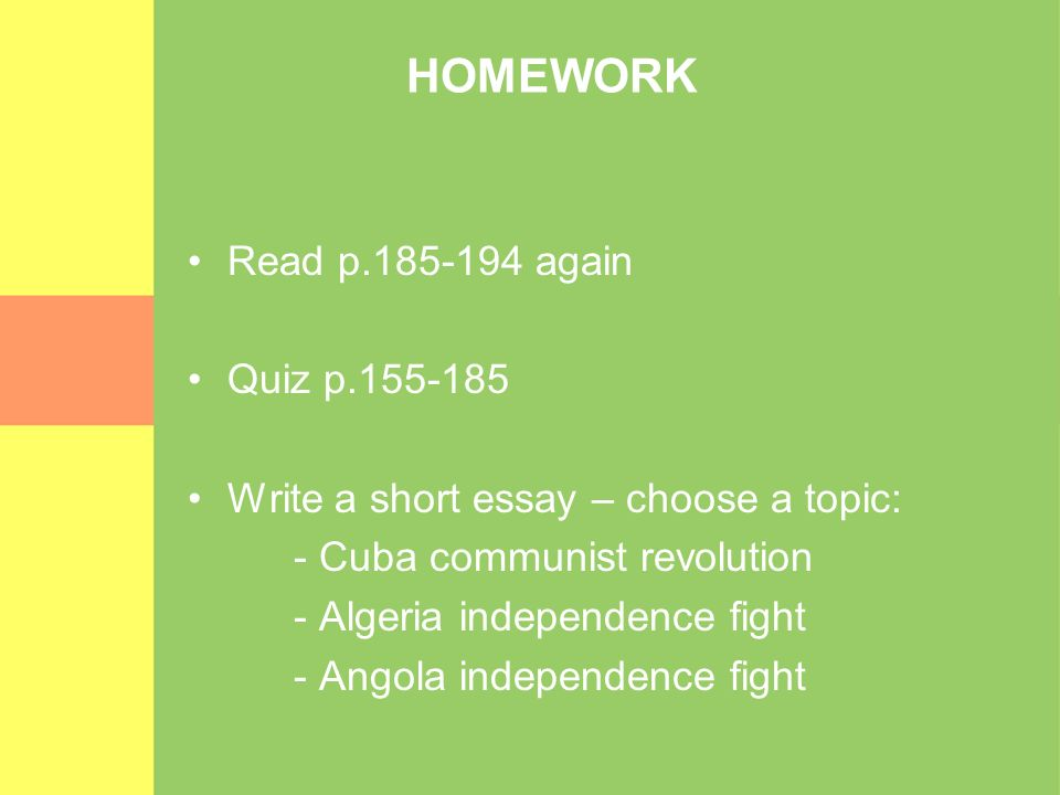 HOMEWORK Read p.185-194 again Quiz p.155-185