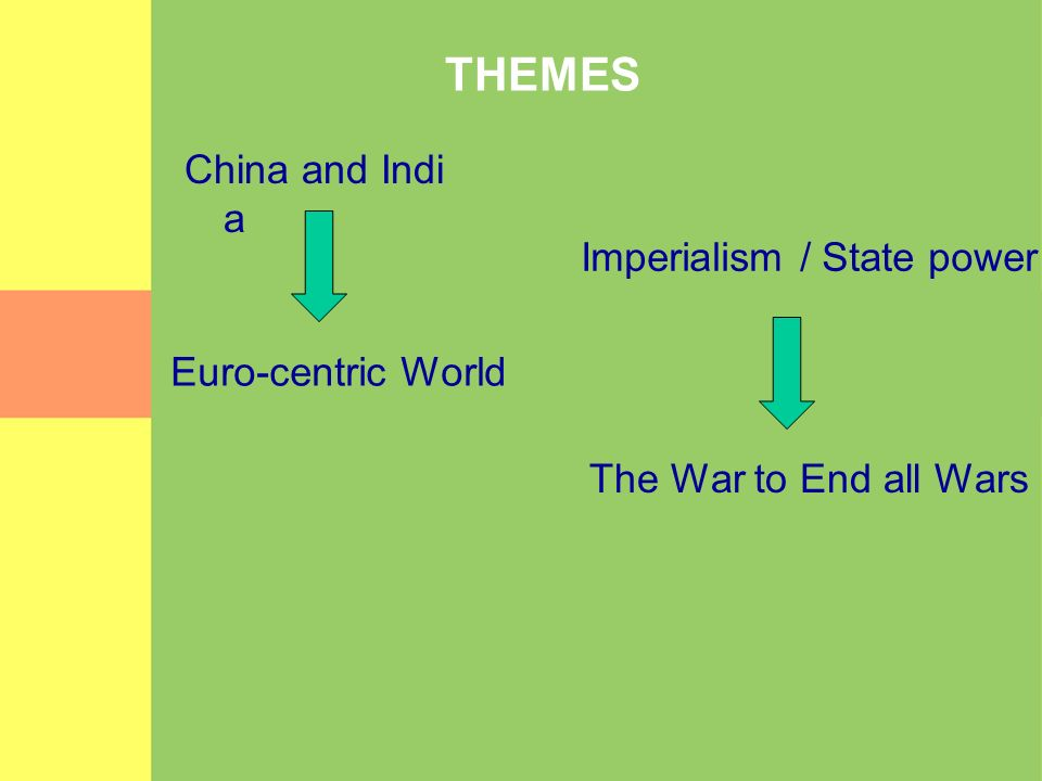 THEMES China and India Imperialism / State power Euro-centric World
