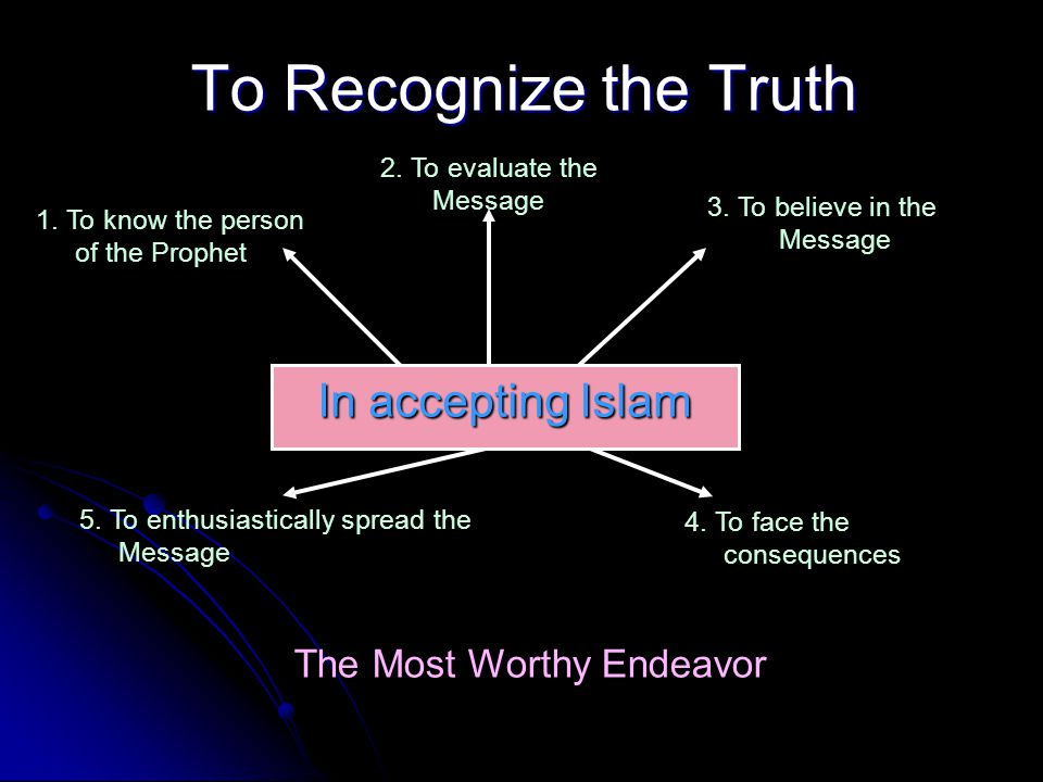 To Recognize the Truth In accepting Islam The Most Worthy Endeavor