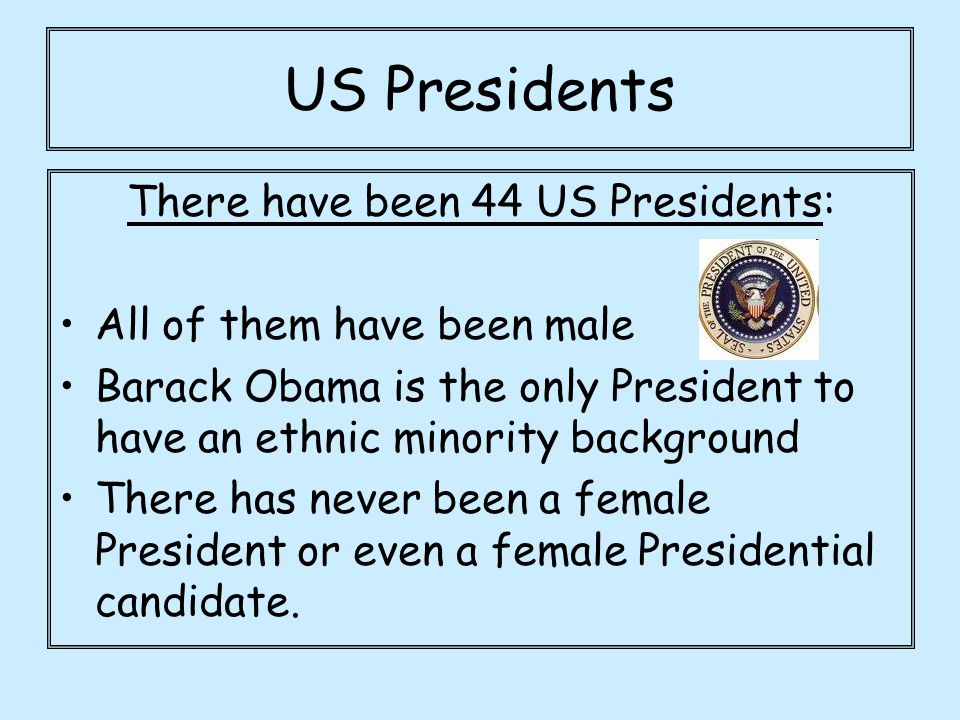 There have been 44 US Presidents: