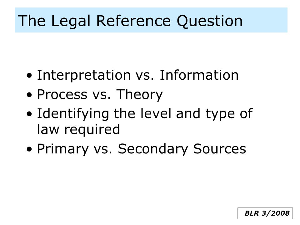 The Legal Reference Question