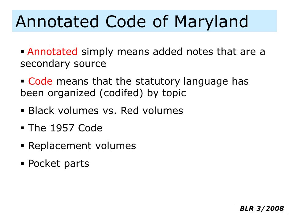 Annotated Code of Maryland