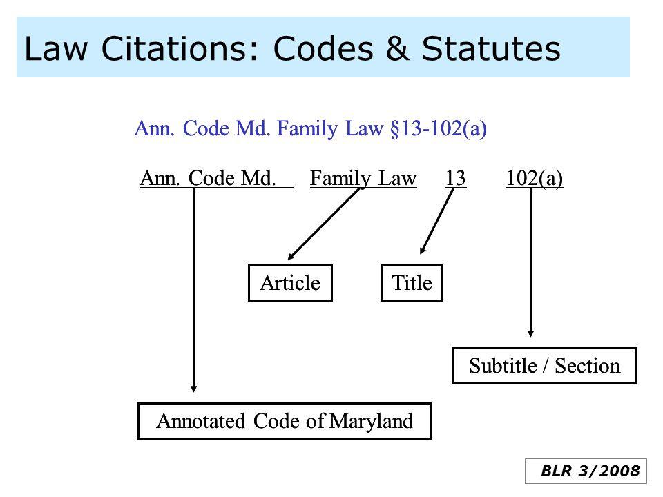 Law Citations: Codes & Statutes
