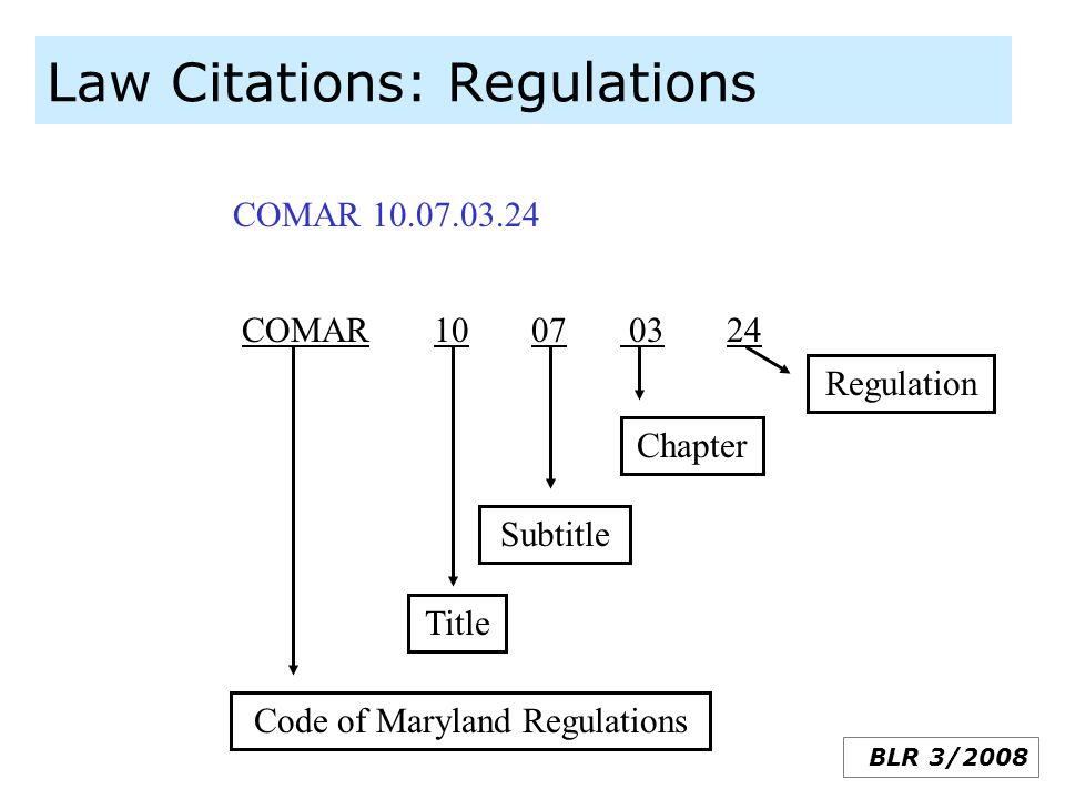 Law Citations: Regulations