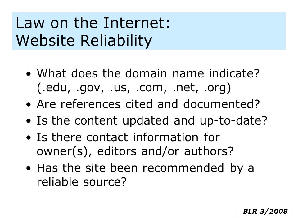 Law on the Internet: Website Reliability