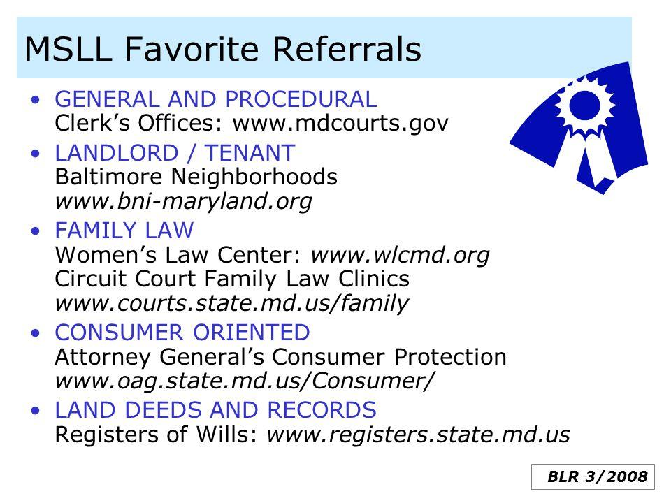 MSLL Favorite Referrals