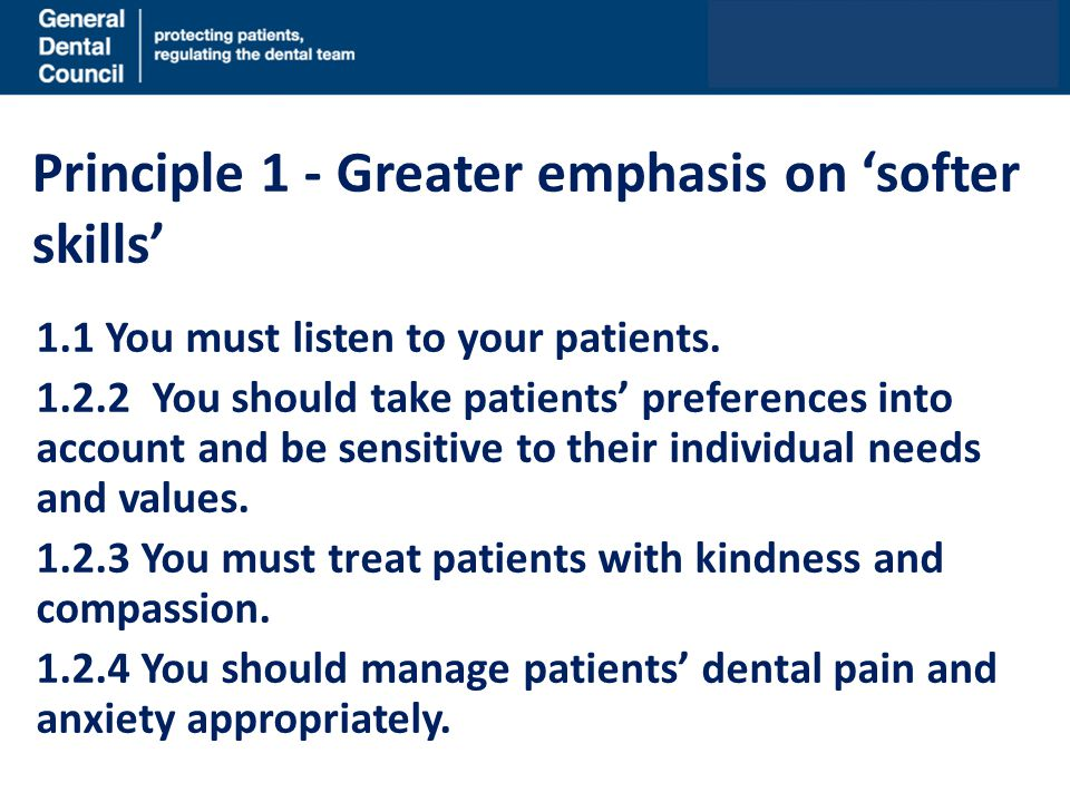 Principle 1 - Greater emphasis on 'softer skills'