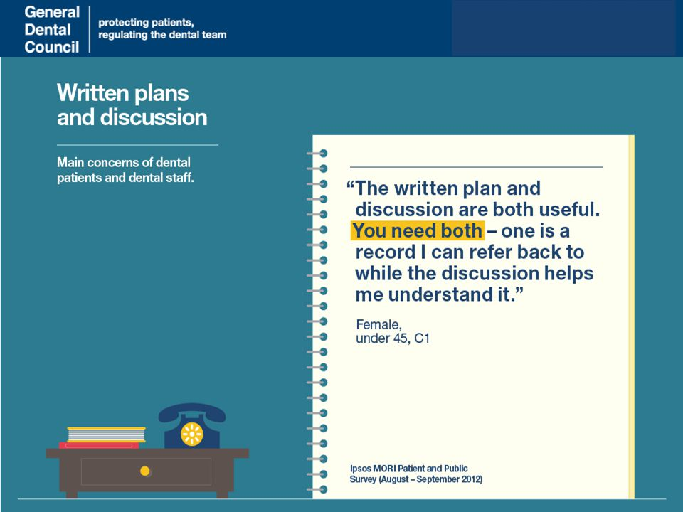 www.gdc-uk.org Moving through the principles, another thing that was important to patients was clear information, discussions and a treatment plan.