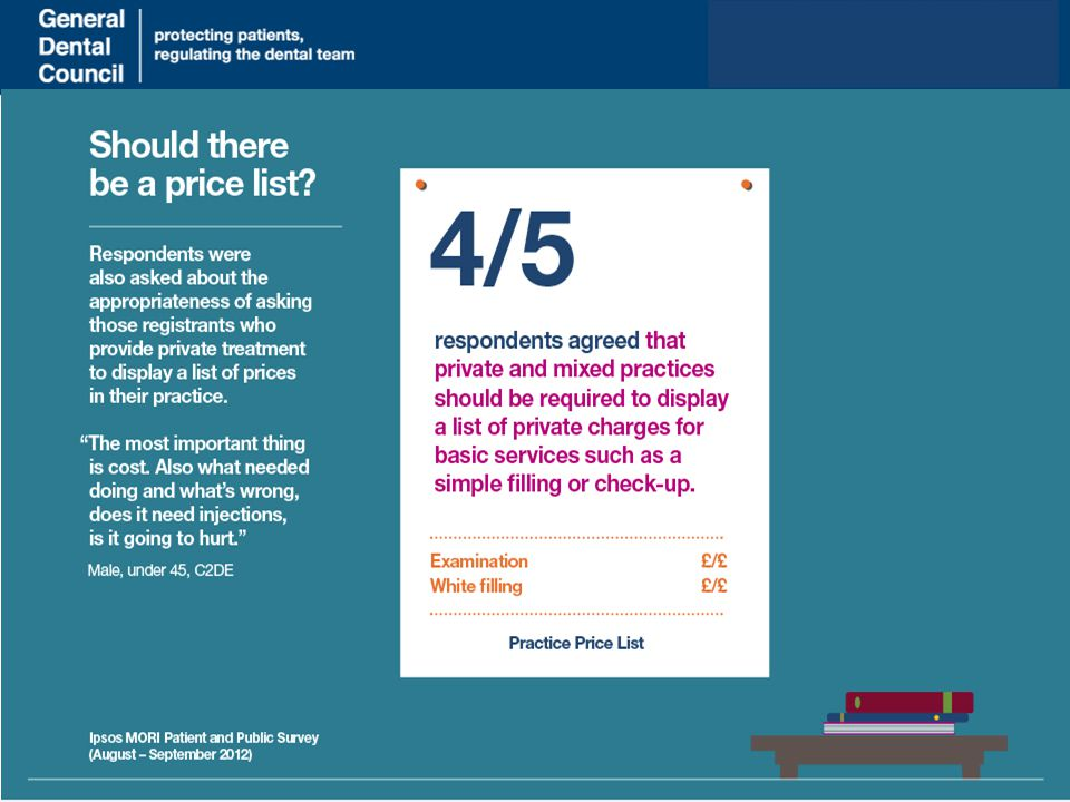 www.gdc-uk.org Patients were very clear that they wanted an idea about costs when choosing a practice, as it's hard to shop around once in the chair.