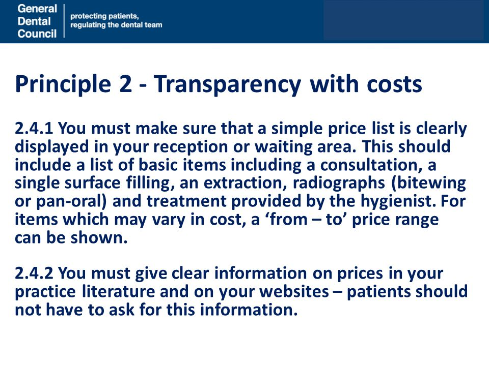Principle 2 - Transparency with costs